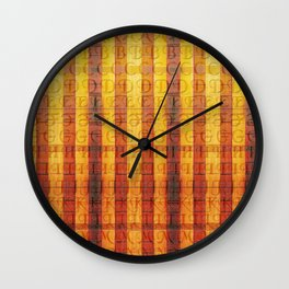 Pattern with the alphabet and hot colors in stripes Wall Clock