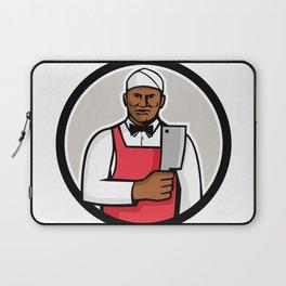 African American Butcher Circle Mascot Laptop Sleeve