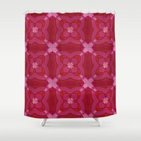 coachella Shower Curtains featuring ornament red pink by Alexandr-Az