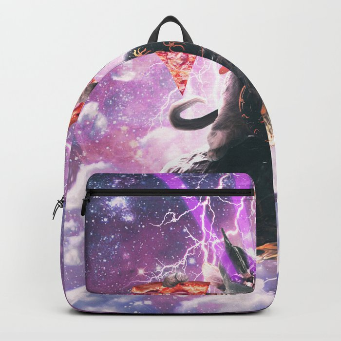 Lazer Warrior Space Cat Riding Turtle With Pizza Backpack