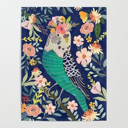 Parakeet with Floral Crown Poster