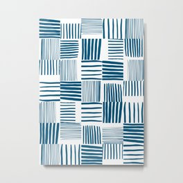 Torn Lines Abstract 03 White Blue Metal Print