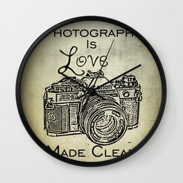 Photography is Love Made Clear - Canon Wall Clock