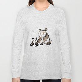 Mother and Baby Black Ink Panda Bears Illustration Long Sleeve T-shirt
