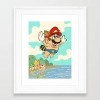 super mario Framed Art Prints featuring Super Mario! by Ismael Álvarez