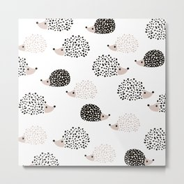 Hedgehog friends black and white spots Metal Print