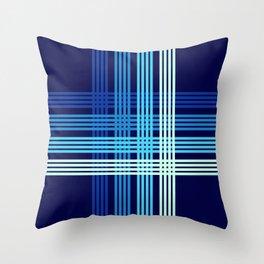 Yoshiyasu - Blue Maritime Sailor Retro Stripes Throw Pillow