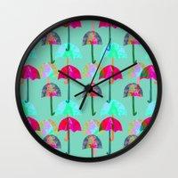 umbrella Wall Clocks featuring Umbrella  by Ingrid Castile