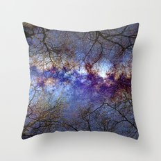 Fantasy stars. Milkyway through the trees. Throw Pillow