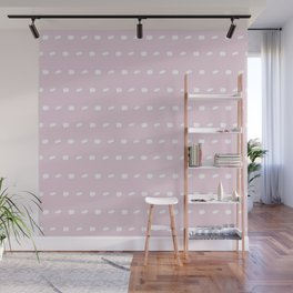 White sewing over pink background seamless surface pattern, broken horizontal lines Wall Mural