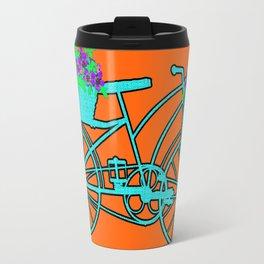 Pop Art Bike With Flower Basket Travel Mug