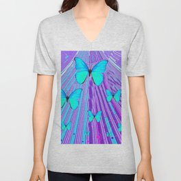 MIGRATING NEON BLUE BUTTERFLIES & PURPLE  ART Unisex V-Neck