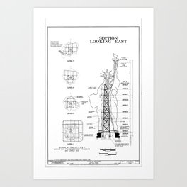 Statue of Liberty Structural Schematic Art Print