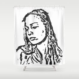 Fiona Apple in Lines, Black and White Shower Curtain