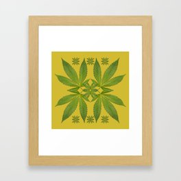 Marijuana Leaf Pattern Framed Art Print