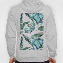 Tropical Palm Leaves Blue Green on White Hoody