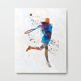 Woman tennis player 03 in watercolor Metal Print
