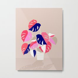 Monstera Deliciosa Plant in blue and pink Metal Print