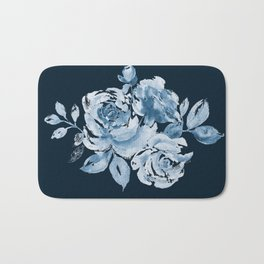 Country Rose on Indigo Bath Mat