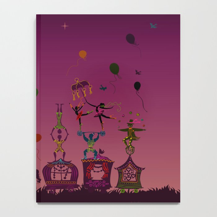colorful circus carnival traveling in one row at night Notebook