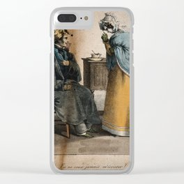 A convalescing soldier being reprimanded by his nurse for not taking his medicine. Coloured lithogra Clear iPhone Case