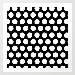 Black with White Polka Dots Art Print