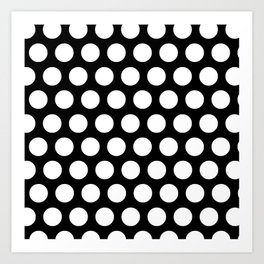 Black with White Polka Dots Art Print