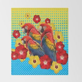 YELLOW-BLUE  FLORAL MACAWS & RED YELLOW HIBISCUS Throw Blanket