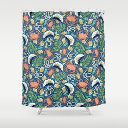 Cap and crab with seashells on water drops Shower Curtain