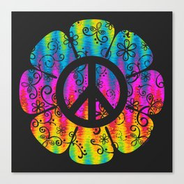 Colorful Peace Symbol Flower  Canvas Print