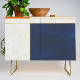 Orange, Blue And White With Golden Lines Abstract Painting Credenza