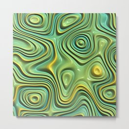 Yellow Lime Green Turquoise Faux Liquid Plastic 3D Swirl Waves Pattern Metal Print