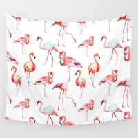 flamingo Wall Tapestries featuring flamingo by Ceren Aksu Dikenci