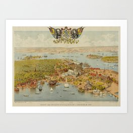 Panorama Map - The Great Art and Industry Exposition, Stockholm (1897) Art Print