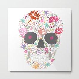 Art Skull Flower Metal Print