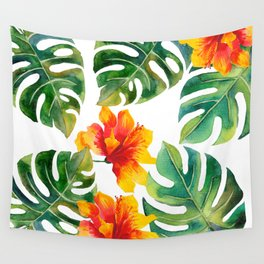 Monstera And Hibiscus Wall Tapestry