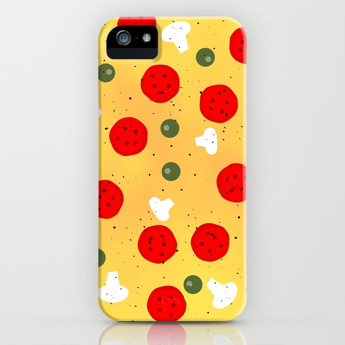 Cool fun pizza pepperoni mushroom iPhone Case