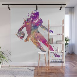 American Football Player Colorful Watercolor Art Gift Sports Art College Football Gift Wall Mural