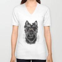schnauzer V-neck T-shirts featuring MR. SCHNAUZER by Sukma Arisanti