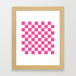 Cheerful Pink Checkerboard Framed Art Print