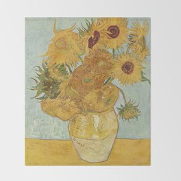 Van Gogh Sunflowers Throw Blanket