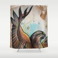 hawk Shower Curtains featuring Hawk by ChaniMurat