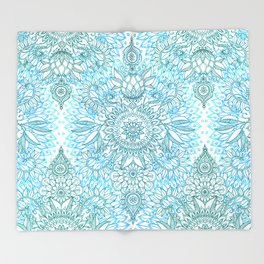Turquoise Blue, Teal & White Protea Doodle Pattern Throw Blanket