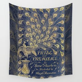 Pride and Prejudice by Jane Austen Vintage Peacock Book Cover Wall Tapestry