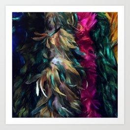 Girls Night Out Feather Boas Art Print