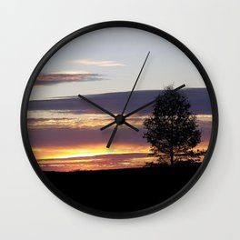 Sunset With Tree Wall Clock