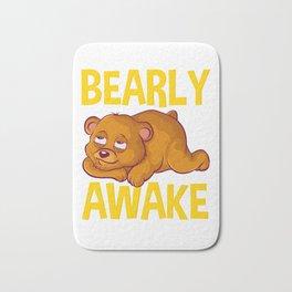 Bearly Awake Half Asleep Baby Bear Cub Pun Bath Mat