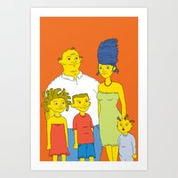 simpsons Art Prints featuring Los Simpsons by Matias Lucena