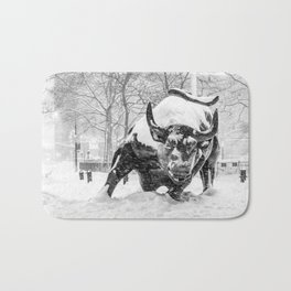 The Charging Bull, In the snow. Bath Mat