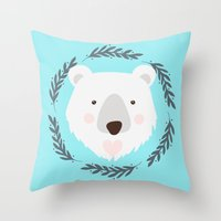 polar bear Throw Pillows featuring polar bear by Taranta Babu